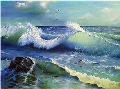 No Wave, Ocean Scenes, Beach Scenes, Landscape Art, Landscape Paintings, Art Plage, Water Art, Sea Art, Sea Waves