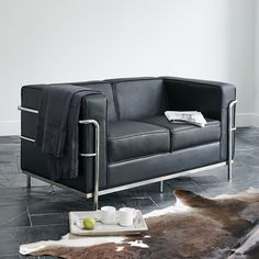 Wallace Sacks, reproduction Le Corbusier LC2 2 Seater Sofa, Black Leather  Height: 72cm x Width: 145cm x Depth: 81cm Seat Height 45cm£619 thru ACHICA