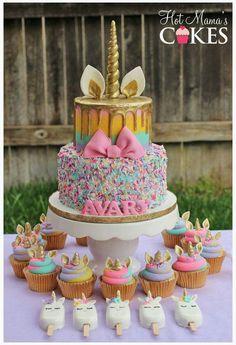 Unicorn Birthday Cake Cupcakes and matching unicorn cake pops Fancy Birthday Cakes, Unicorn Birthday Parties, Unicorn Party, Girl Birthday, Unicorn Cakes, Birthday Ideas, Rainbow Unicorn, Rainbow Magic, Unicorn Head