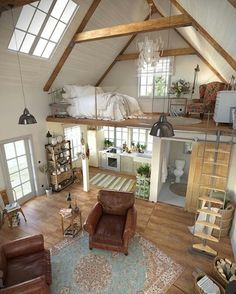 Here are 40 of our best picks for most beautiful loft living spaces! Read what is a loft apartment and loft style. Get ideas for your loft homes. Tiny House Living, Home And Living, Bus Living, Living Room, Cottage House, Tiny House Closet, Tiny House Bedroom, Small House Interiors, Home Depot Tiny House