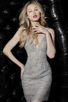 Steal the spotlight in the Plunging V-Neck Embellished Lace Cocktail Dress  from Jovani. 246239a4f