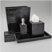 Delicieux Limited Production Design: Black Crocodile Patent Leather Bathroom Set *  Hotel Contract Orders Only Email