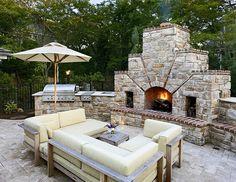 Massive outdoor fireplace!  #outdoorliving  #outdoorfireplaces  homechanneltv.com