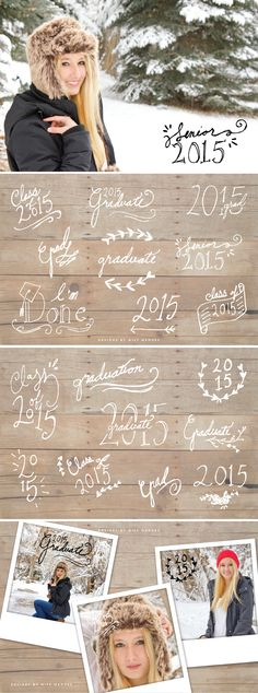 Share the big news about your graduation with these fun, hand drawn photo overlays! 18 ready-to-use designs to compliment your senior portraits. Perfect for all the lovely pictures of your beautiful self.
