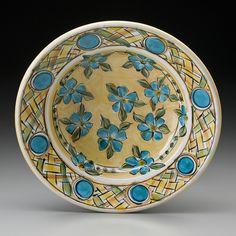 "Yellow & Blue Flower Bowl 12.5""x12.5""x4"""