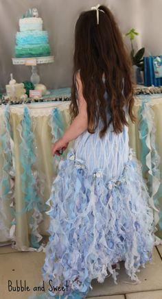Bubble and Sweet: Party Mermaid Party inspired by Driftwood, the ocean and dreamy little girls. I love the mermaid dress. Little Mermaid Birthday, Little Mermaid Parties, The Little Mermaid, Mermaid Tutu, Mermaid Dresses, Mermaid Lagoon, Mermaid Costumes, Mermaid Princess, 7th Birthday