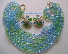 CINER Couture Sparkle Azure Blue Green Yellow Crystal Glass Aurora Borealis Rhinestone 6-Strand Beaded Torsade Necklace Earrings /850