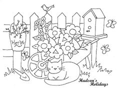 Hudson's Holidays - Designer Shirley Hudson: Cat in the garden Freebie
