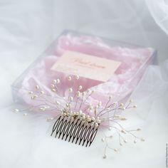 Купить Свадебный гребень для волос - белый, украшение для волос, свадьба, выпускной, свадебное украшение