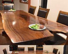 Produkty podobne do Stunning Live Edge Walnut Dining Table w Etsy Custom Dining Tables, Walnut Dining Table, Wooden Tables, Live Edge Table, Live Edge Wood, Bond, Walnut Burl, Wood Slab, Rustic Wood