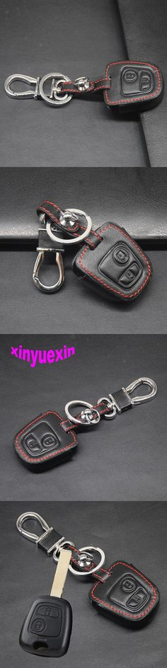 Xinyuexin Leather Car Key Cover Fob Case For Peugeot 206 307 207 408 For Citroen C2 C3 C4 Iran Car-stying With Keychain No Logo