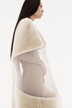 Conceptual Fashion Design - faux fur cocoon dress with delicate sheer window; sculptural fashion // Julia Horner @castaner