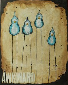Awkward Birds painting by MrHotTea2 on Etsy, $20.00