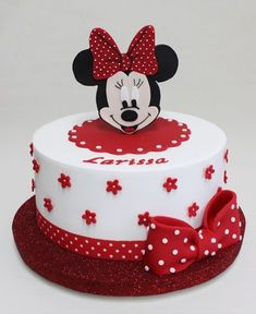 Minnie Mouse Party More decorating ideas on albums: Minnie Mouse Party 1 Mickey Mouse Torte, Bolo Da Minnie Mouse, Mini Mouse Cake, Mickey And Minnie Cake, Minnie Mouse Birthday Cakes, Mickey Mouse Cupcakes, Mickey Cakes, Baby Birthday Cakes, Mickey Mouse Birthday