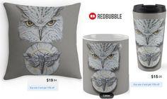 'Watchful Eye of Time' Owl Moth Throw Pillow, Mug and Travel Mug #artbyurte