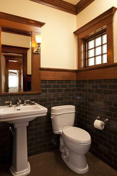 Craftsman Bathroom Dark Subway Tile Walls With Khaki Grout And Hex Floor
