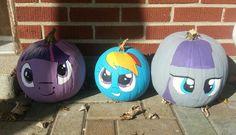 My little pony pumpkins. Twilight sparkle, rainbow dash, and Maud pie