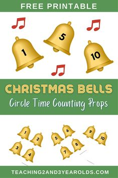 Add some counting to your toddler and preschool circle time with this Christmas bells printable. Works well with favorite books and songs! #Christmas #holidays #bells #counting #printable #circletime #music #2yearolds #3yearolds #toddlers #preschool #teaching2and3yearolds