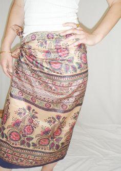 Silk Sarong Cover Up Cream Floral Vintage Sari by MiriTextiles, $29.95