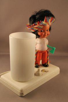 "60er Jahre Lampe Tischlampe PIETER KLICK ""Indianer"" 60s table lamp INDIAN BOY"