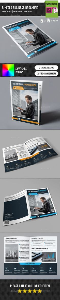 Corporate Bifold Brochure-V255 - Corporate Brochure Template InDesign INDD. Download here: http://graphicriver.net/item/corporate-bifold-brochurev255/11752949?s_rank=1785&ref=yinkira