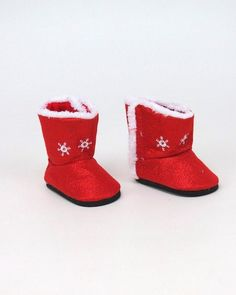 """Red Fur Boots Fits 18/"""" American Girl Doll Clothes Shoes"""