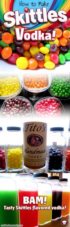 Learn how to make Skittles Vodka! It's so easy, and tastes just like Skittles! Use it as you would any flavored vodka! Skittles Martinis are the bomb! Party Drinks, Fun Drinks, Yummy Drinks, Alcoholic Drinks, Beverages, Vodka Cocktails, Cocktail Drinks, Cocktail Recipes, Alcohol Games