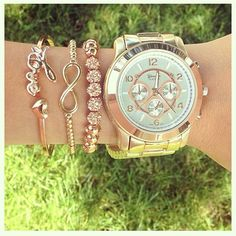Arm candy is a special way to wear your jewelry in layers #girly #accessories #watch