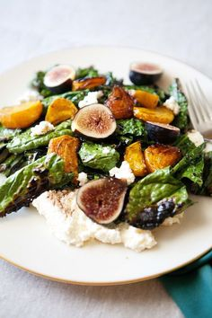 Grilled Kale Salad with Beets, Figs, and Ricotta (golden beets, olive oil, balsamic vinegar, maple syrup, kale, figs, fresh ricotta)