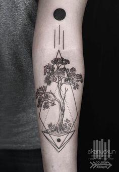 #okan #uckun #tattoo #minimal #istanbul #turkey #tree #of #life #black #work #line #engraving #moon #imnotminimal #leaf #arm #sun