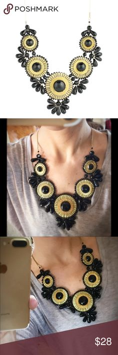 """ZAD Gold Metal Glass Bead Medallion Bib Necklace Statement necklace measures 24"""" long with 2"""" of additional adjusting links. Features antiqued gold metal snake chain 3 3/4"""" black glass bead gold metal wire  Lobster clasp.                                                   Only worn a couple of times! In EXCELLENT condition. Jewelry Necklaces"""