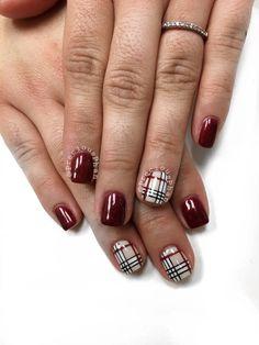 Burberry nails. Plaid nails. Maroon nails. #PreciousPhan