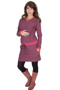 Viva la Mama | sporty and casual nursing and maternity dress UNA(berry mottled, long-sleeved) A comfortable dress for pregnancy, maternity, breastfeeding & everyday use.