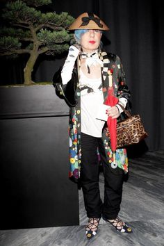 Anna Piaggi at the Tom Ford boutique opening in Milan.