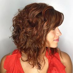 20 Ways to Make a Long Inverted Bob All Your Own Uneven Curly Rusty Brown Lob Curly Inverted Bob, Inverted Bob Hairstyles, Haircuts For Curly Hair, Curly Hair Cuts, Short Curly Hair, Curly Hair Styles, 2015 Hairstyles, Curly Lob Haircut, Celebrity Hairstyles