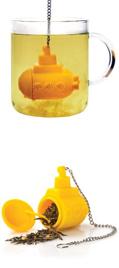 Submarine Tea Infuser... We all live in a yellow submarine, a yellow submarine, a yellow submarine.