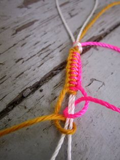 Use basic knots to create a bright bracelet perfect for summer!