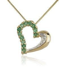 18k Yellow Gold Plated Emerald and Diamond Half- and -Half Heart Pendant Necklace - http://www.wonderfulworldofjewelry.com/jewelry/necklaces/pendants/18k-yellow-gold-plated-emerald-and-diamond-half-and-half-heart-pendant-necklace-com/ - Your First Choice for Jewelry and Jewellery Accessories
