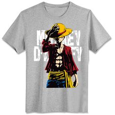 Fashion One Piece Luffy Straw Hat Print Layered T-Shirts Zipper Summer Loose Tee