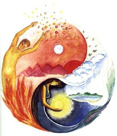 Yin-Yang; A taijitu where the yang (as interpreted with a male figure, fire, daytime, etc.) has a moon as it's dot element (usually this is interpreted as the sun) and the yin (with a female figure, nighttime, water) has it's dot element interpreted as a sun, instead of the usual white moon.