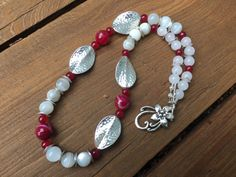 Red and White Holiday Necklace, Winter Red Bead Necklace, Moonstone and Quartz Necklace, Christmas Holiday Necklace, Party Bead Necklace