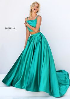 Sherri Hill 50295 Emerald Two Piece Satin Prom Dresses 2016 Grad Dresses Short, Straps Prom Dresses, Prom Dresses 2016, Sherri Hill Prom Dresses, Satin Dresses, Cheap Dresses, Prom 2016, Formal Dresses, Wedding Dresses