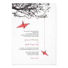 Oriental Origami Paper Cranes Tree Wedding Invite