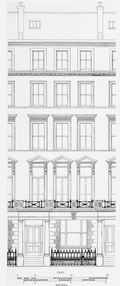 Nos. 57–75 (odd) Lexham Gardens, typical elevation. Samuel J. Wyand, builder, 1875