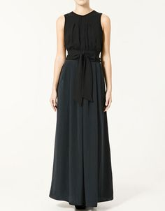 long dress w/bow at the waist