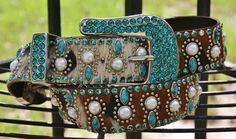 Kippy's 1.5 Brindle Hair on Hide Belt with Turquoise Crystals and Pearls www.gugonline.com $389.95