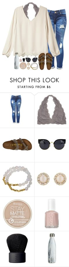 """summer shopping tomorrow :))"" by sarahc01 ❤ liked on Polyvore featuring Rhyme Los Angeles, Birkenstock, Electric Picks, Kate Spade, Rimmel, Essie and NARS Cosmetics"