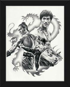 22.5x17.5 Sketch Poster Print Bruce Lee Framed or Un-Framed