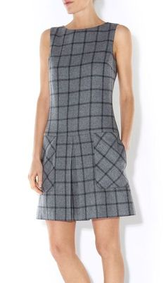 Hobbs | Gray Albury Check Wool Dress