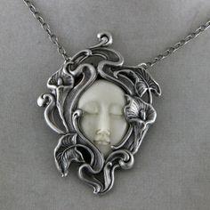 Art Noveau Sleeping Beauty Necklace  Carved Bone Face by oscarcrow, $38.00